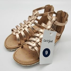 Metallic Gladiator Sandal Toddler Girls Size 9